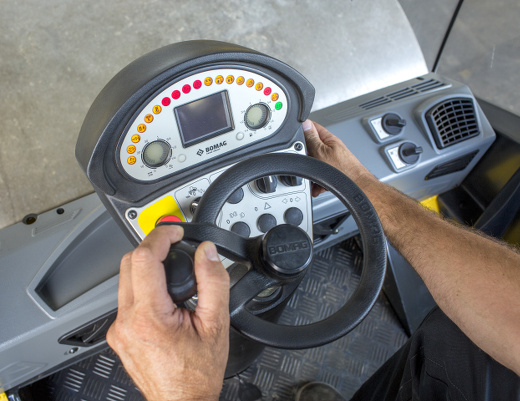 interior of the bw 216 pdh-5 bomag roller