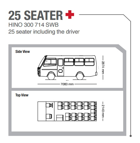 25 seater bus from hino