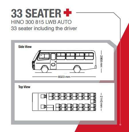 hino 300 series 33 seater bus