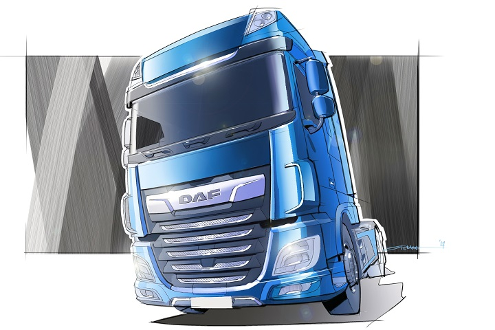 the sketch of the daf xf truck
