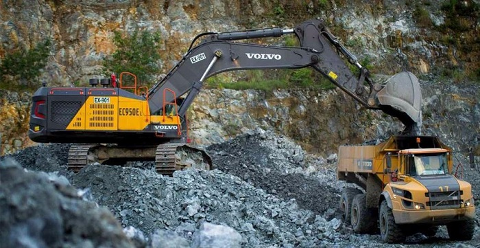 volvo excavator at work