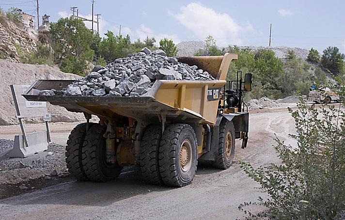 dumper truck at work by cat