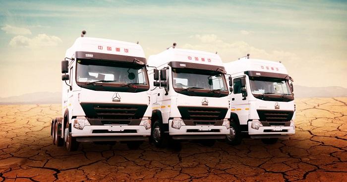 sinotruck trucks lined up