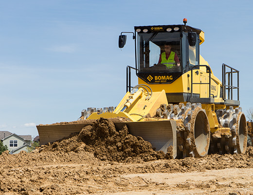 exceptional work by a bomag soil compactor