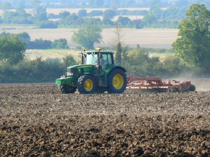 disc harrow farming soil truck planting.